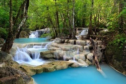 the emerald green water at the Erawan Waterfall Kanchanaburi